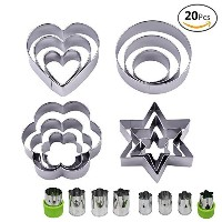 Juslinのセット20ステンレススチールMolds、12メタルCookie Cutters、3 star-shapes 3 flower-shapes、3、ラウンド、3 heart...