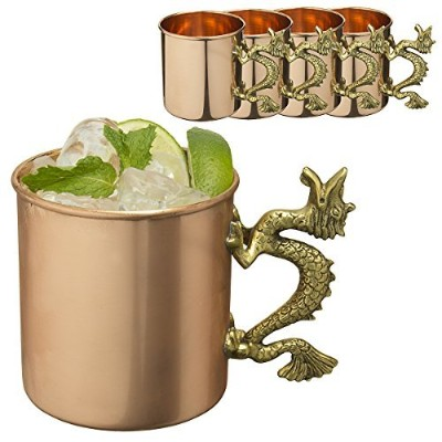 1ソリッド銅20oz Moscow Mule Mugs with Dragonハンドルby Old Dutch ODI