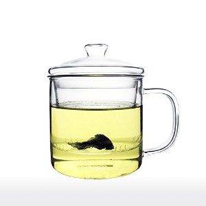 Unihom – ガラスAll in One Tea Cup with Infuserと蓋 70ty 450ml クリア 70ty-i