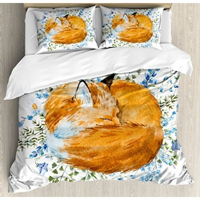 Fox布団カバーセットby Ambesonne、Sleeping Fox in Watercolors Hand Drawn Fresh Wild Flowers Blossomsアートワーク...