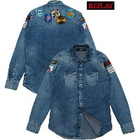 REPLAY/リプレイ M4860P TIE-DYE LYOCELL DENIM SHIRT with two breast flap pockets & three-button cuffs...