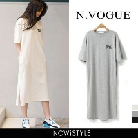 N.Vogue(エヌヴォーグ)WHAT EVER Tシャツワンピース【4/12up_mo】韓国 韓国ファッション Tシャツワンピ ロゴ プリント Tシャツ ロング丈 ワンピース 夏 マタニティ...
