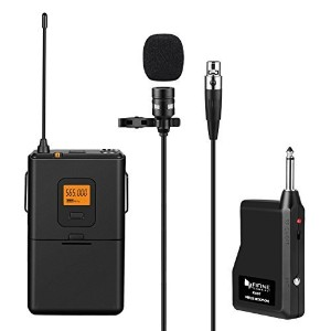 Fifine 20-Channel UHF Wireless Lavalier Lapel Microphone System with Bodypack Transmitter Mini XLR...