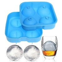 (Sky Blue) - Pengxiaomei Ice Cube Moulds Premium Ice Ball Maker Mould Black Flexible Silicone Ice...