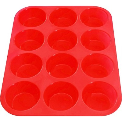 Silicon Muffin Tray - 12 Moulds/Cups - Non-Stick - Baking Pans - BPA Free - Ideal for Cupcakes,...
