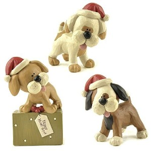 "Blossom Bucket Standing Dogs with Santa Hats Christmas Decor (Set of 3), 3-3/4"" High by Blossom..."