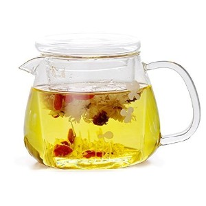 IRSEガラスTea Infuser Cup With Glass Tea Strainerとガラス蓋、ホウケイ酸ガラス、耐久性耐熱性ホットドリンクfor Loose Leaf Tea Herbs...
