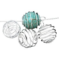 PEPPERLONELY Brand 20PC Silver Plated Spiral Bead Cage Charms Pendants (Holds 18mm - 22mm Beads) by...