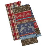 DIIデザインImports Out West Western Dishtowels–のセット2–ダウンホームジャカード–Rancher Plaid