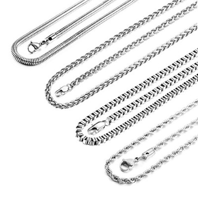 MOWOM 4PCS 4.0mm Wide Silver Tone Stainless Steel Necklace Snake Twisted Box Curb Chain Link 28 Inch