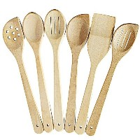 健康Cooking Utensilsセット – 6木製スプーンfor Cooking – Natural Nonstickハード木製スパチュラand Spoons – Uncoated and...