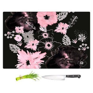 """DIANOCHEキッチンカッティングボードby Julie Ansbroブラックピンク花 Large 15"""" x 11"""" CB-JulieAnsbroBlackPinkFlowers2"""
