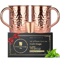 Moscow Mule銅マグカップのセット2 – ソリッド銅手作り銅マグカップfor Moscow Muleカクテル – 16オンス – 含まショットグラス – ギフトセット