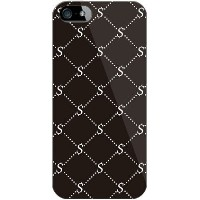 【送料無料】【光沢なし】 S Monogram ブラック×ホワイト (クリア) design by ROTM / for iPhone SE/5s/SoftBank 【SECOND SKIN...