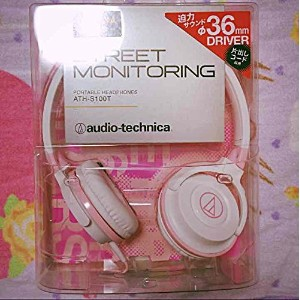 STREET MONMITORING ヘッドフォン audio-technica ATH-S100T ホワイト ピンク 白