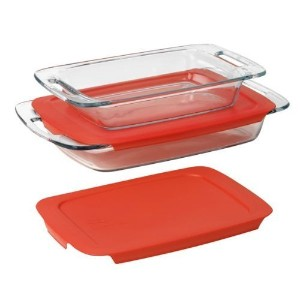 Pyrex BasicsガラスOblong Baking Dish、クリア Easy Grab 4-Piece Value Pack レッド