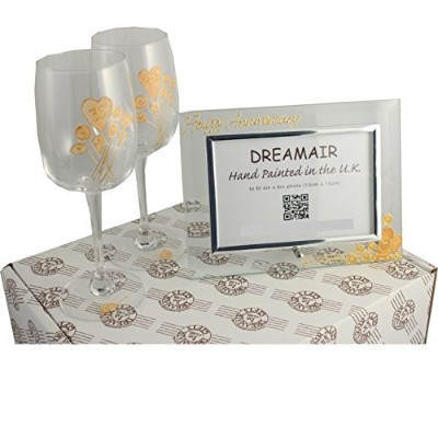 35th Coral Wedding Anniversary Wine Glasses and Photo Frame Gift Set