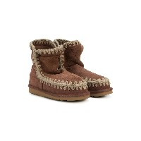 Mou Kids TEEN embroidered boots - ピンク&パープル
