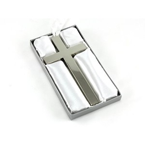 Skyway Silver Cross with Ribbon Baby Keepsake - Engravable by Skyway Products