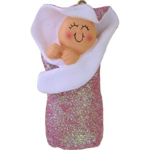 Personalizeable Baby Glitter Bunting Pink Ornament by Ornament Central [並行輸入品]