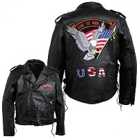 Diamond Plate GFMOTLTRM Medium Men's Hand-Sewn Pebble Grain Genuine Buffalo Leather Jacket