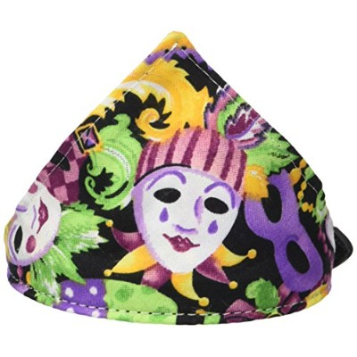 Mardi Gras Bandana Pet Collar Black Size 14