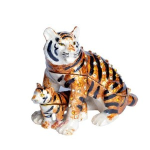 Lilly Rocket Collectible Trinketボックス宝石ラインストーンちりばめたスワロフスキークリスタル – Tiger With Cubボックスとして