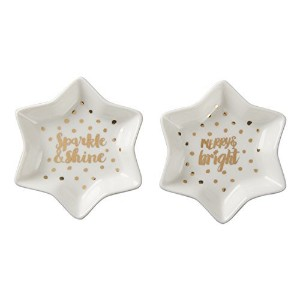 タグゴールドとホワイトStar Sparkle and Shine Appetizer Plates ( Set / 2 )