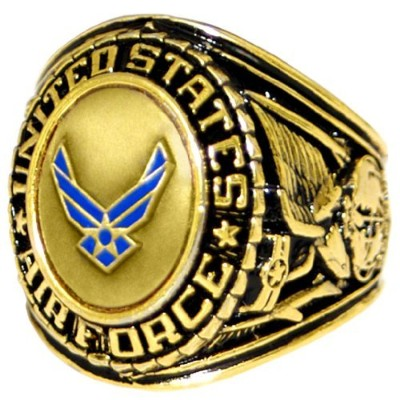 US Air Force Insigniaリング–ブロンズ色付きAir Force Veteranリング–Military Collectibles