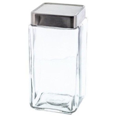 Stackable Square Glass 1890ml Jar Canister with Aluminium Lid