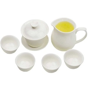 ホワイトPorcelain Chinese Gongfu Gaiwanのお茶セット( comprised Gaiwan、A Fairness Pitcher and 4 Tea Cups ) ts03