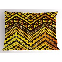 Tribal Pillow Sham by Ambesonne、Hand Drawn Paintedエスニックパターンwith Zig Zag and Stripes African幾何アート...