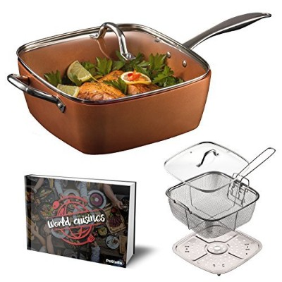 "Pottella Deep Square 9.5"" Copper Pan Chef 5 Piece Set Frying Basket, Steamer Tray With Bonus World..."