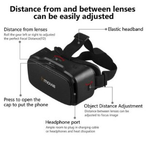 3D VRゴーグル VRヘッドセット 4-6インチ スマホ用 Hmovie G6 3D VR Headset Virtual Reality Glasses for iPhone & Android...