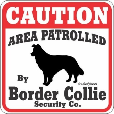 CAUTION AREA PATROLLED By Border Collie Security Co. サインボード:ボーダーコリー 注意 警戒中 セキュリティ 看板 Made in U.S.A ...