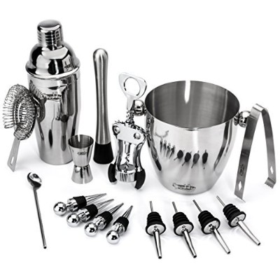 Buddy 16-Piece Stainless Steel Wine and Cocktail Bar Set - Bar Kit Includes Essential Barware Tools...