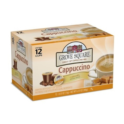 Grove Square Cappuccino, Caramel, 12 Single Serve Cups (Pack of 3) by Grove Square Cappuccino