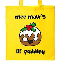 Inktastic–Mee Maw 's Lil ' Puddingトートバッグ–毛羽and Jim One Size イエロー