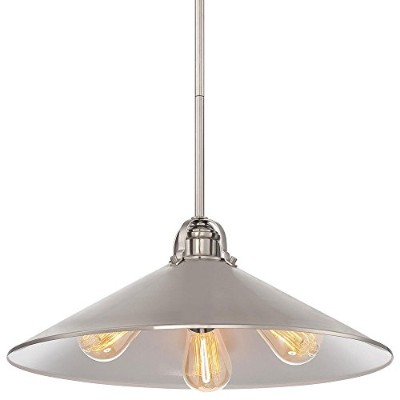 Minka Lavery 2251-84 3 Light Pendant in Brushed Nickel Finish w/ Metal Shade by Minka Lavery