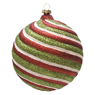 "Merry & Bright Red, White and Green Glitter Swirl Shatterproof Christmas Ball Ornament 4"" (100mm)"