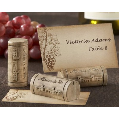 Maison du Vin Wine Cork Place Card/Photo Holder with Grape-Themed Place Cards (Set of 192) - Baby...