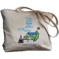 Camping For Foodies Cotton Eco-Friendly Reusable Grocery Tote Bag with Pen Loop and Cute Retro RV...