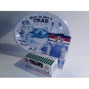"""How to Eat a Crabメラミン大皿/プレート(メジャー10"""" x 13"""" ) (サービスfor 4)–Includes Bibs and Wet Naps"""