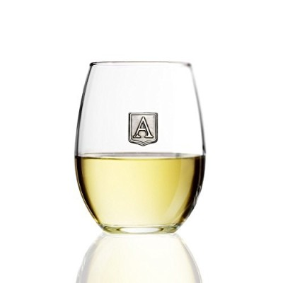 Personalized Stemlessワインガラス–ノベルティギフト–Pick Your Letter Crest 15 oz クリア