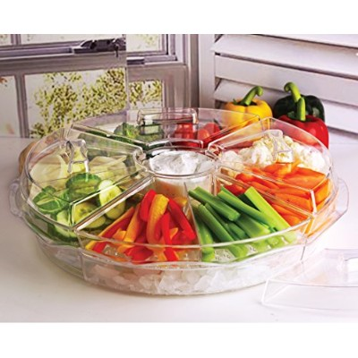 (42cm, Clear) - Circleware Acrylic 8 Section Cold Chip & Dip Salad Snack Dessert Bowl Set with Lids...