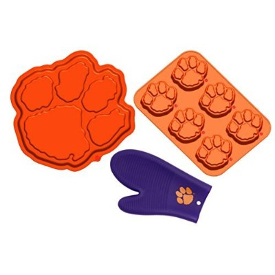Clemson Tigers Silicone Baking Bundle: Paw Print Cake Pan, Muffin Pan, and Oven Mitt