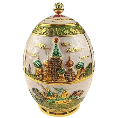 (White, Castle and Horse) - Royal Russian Style Tea Canister Engrave Castle Pattern Tin Metal Tea...