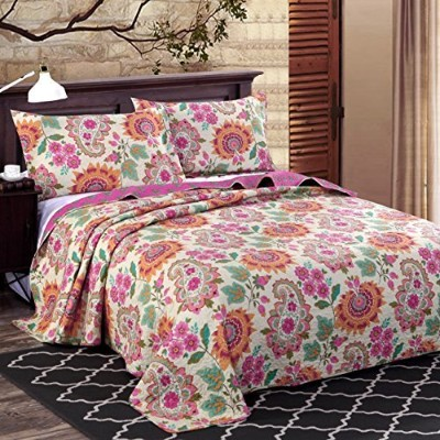 (Queen, Multi Red) - Alicemall Boho Style Christmas Bed in a Bag Exotic Paisley and Flower Print...