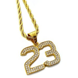 Iced Out Number 23ペンダントステンレススチールネックレス24cmロープチェーン