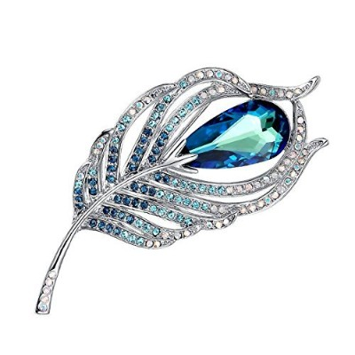 Merdia Brooches Pin for Women Bridal Glittery Crystal Feather Brooch Blue